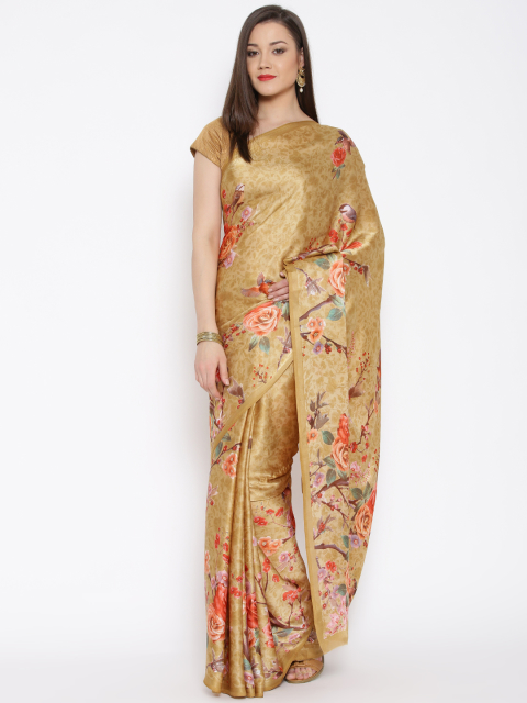 9 simple sarees - Beige Crepe Satin Floral Print Saree