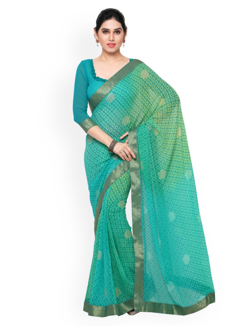 12 simple sarees - Green Georgette Printed Saree