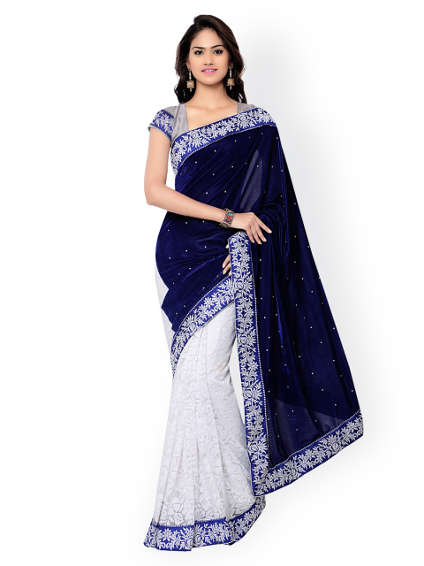 1 simple sarees - Velvet Embellished Saree