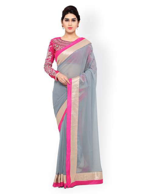 4 simple sarees - Grey Chiffon Saree