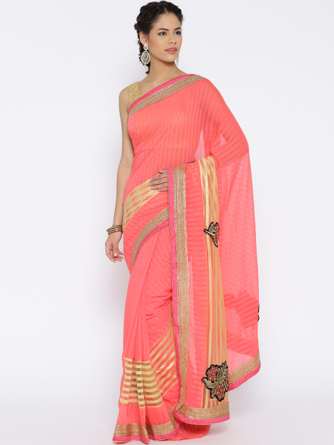 2 simple sarees - Pink Chiffon Saree