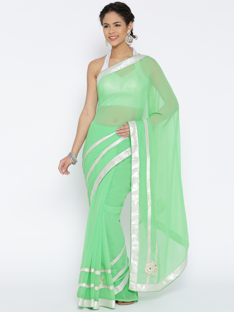 3 simple sarees - Green Georgette Saree