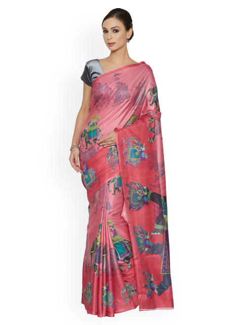 5 simple sarees - Mughal Print Art Silk Saree