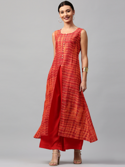 14 sexy kurtas Libas Women Red   Orange Printed A-Line Kurta