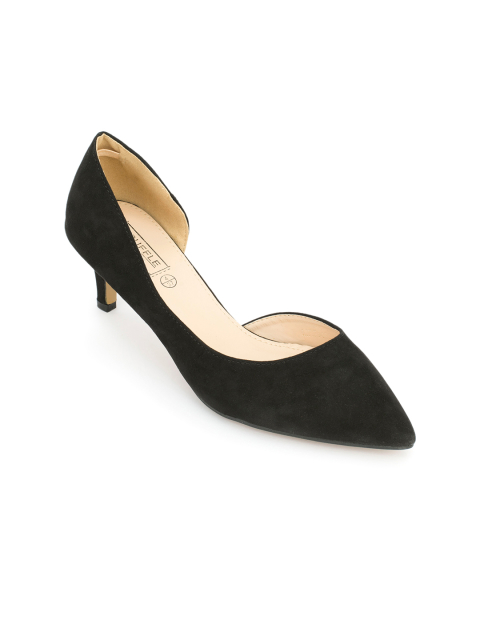 8 footwear for women - Truffle Collection Women Black Solid Pumps