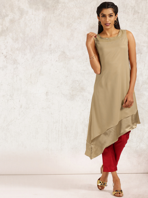 7 new indian wear styles Anouk Women Beige Solid A-Line Kurta