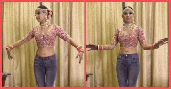 Dressed In A Choli & A Pair Of Jeans, This Bride Is All Set To Go Viral With Her Bhangra Moves!