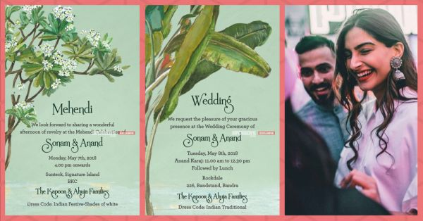 #SonamDiWedding: Sonam Kapoor & Anand Ahuja's Wedding Invites Are Out!