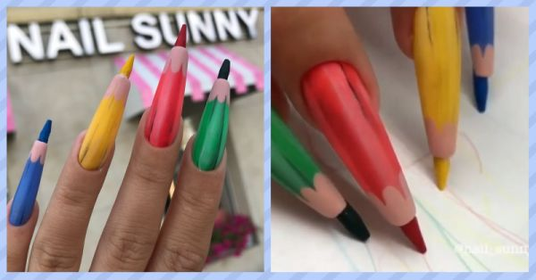 You Won't Be Able To Look Away From These *Weird* Colour Pencil Nails!
