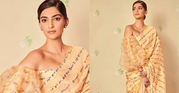Sonam Kapoor Wore A  Saree With Words Scribbled On It, And We Know EXACTLY What They Meant!