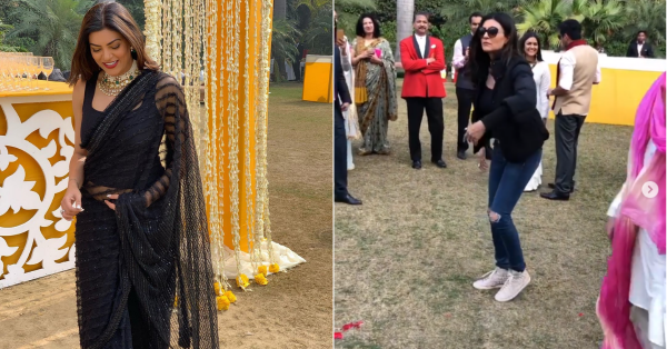 Sushmita Sen Was The Perfect *Baraati* At Her Nephew's Wedding In Delhi!