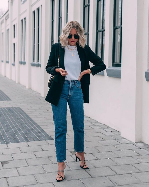 coat with high waist jeans