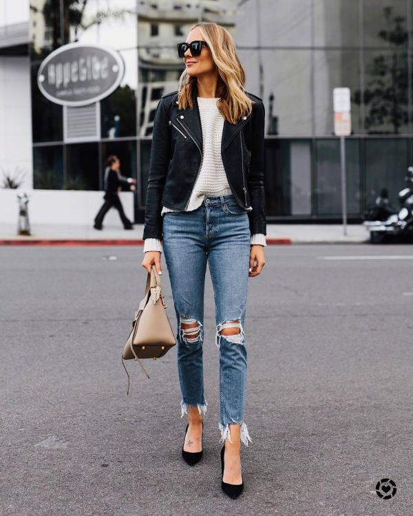 leather jacket with jeans