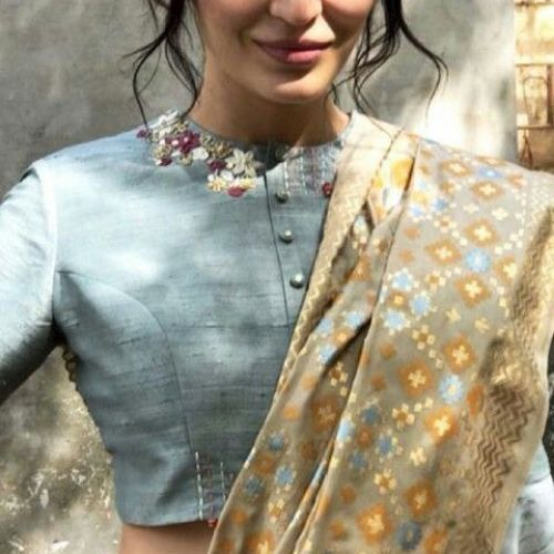 Simple raw silk closed neck blouse design