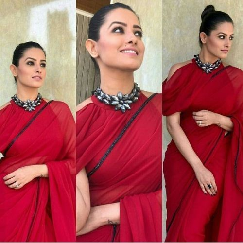 Anita Hassanandani  in high neck cold shoulder blouse