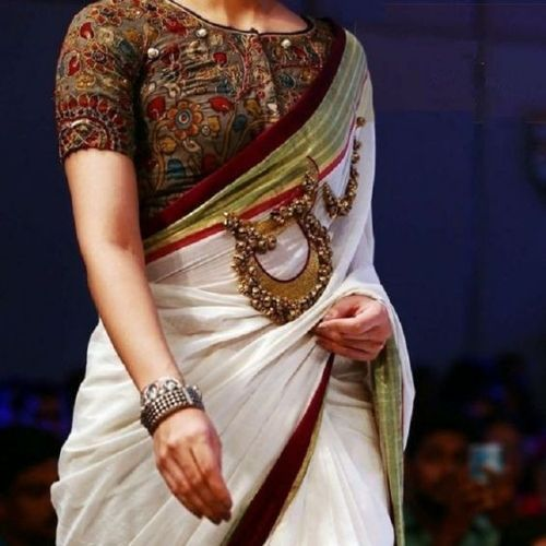 Boat Neck Blouse With White Saree