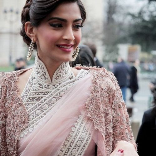 Sonam Kapoor in high neck blouse design