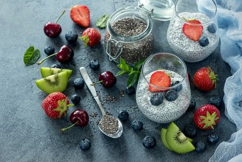 There are many fruits keep near Chia Seeds