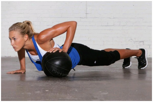 Girl Doing Exercise  With Ball