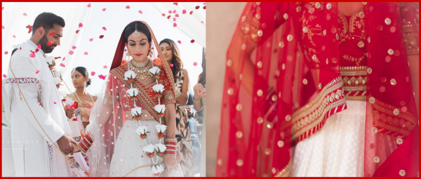 An Indian Bride Ditched Red & Wore A Unique White Sabyasachi Lehenga On Her Wedding Day!