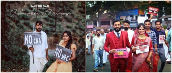 No CAA, No NRC: Couples Protest Against CAA During Their Wedding Photoshoot