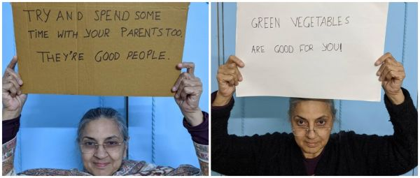 Desi Mom With Sign Gives You All The Gyaan You Do (Or Don't) Need