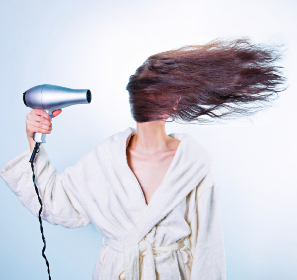 Blow drying the hair