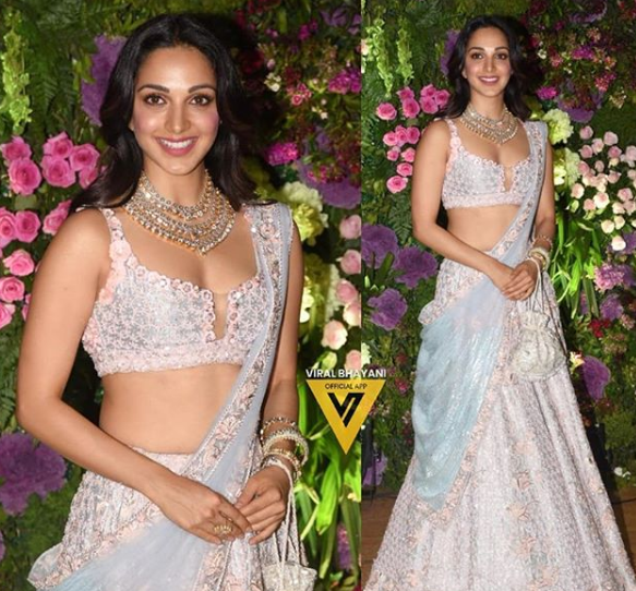 kiara adavni in light blue lehenga at wedding