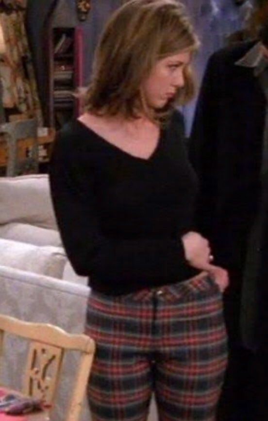Rachel green wearing plaid trousers tattoo scene