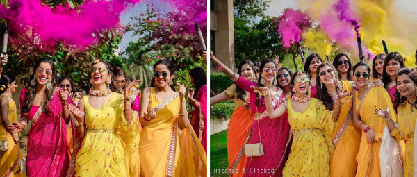 This Bride's Haldi Ceremony Went Viral 'Cuz Of The Colour Bomb That It Was!