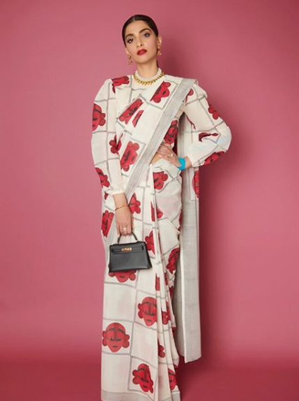 Style Printed Blouse With saree in winter
