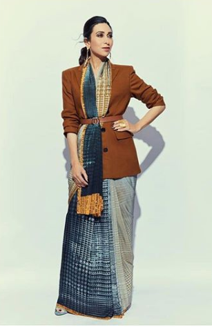 Contrasting jacket with saree to style in winter