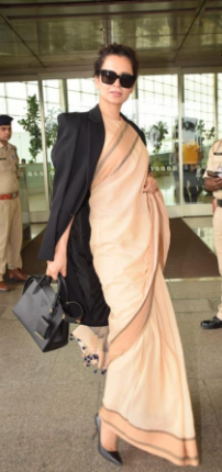 Coat with saree to style in winter