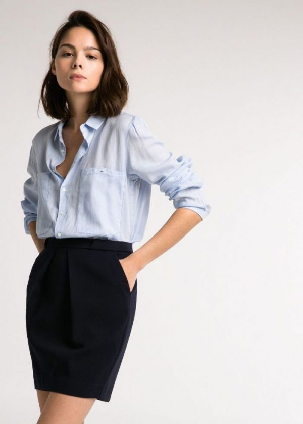 Girl in Linen Shirts with Skirt