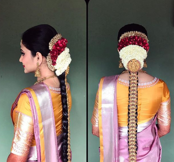 hairstyle for south indian bride with a rakodi and gold