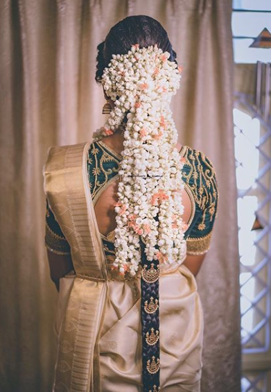 South indian bridal hairstyle with gajra