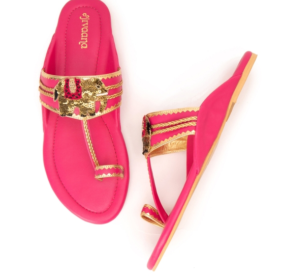 a pair of pink kohlapuris for your wedding