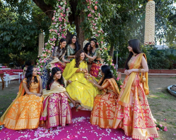 a picture of a bride with her guests