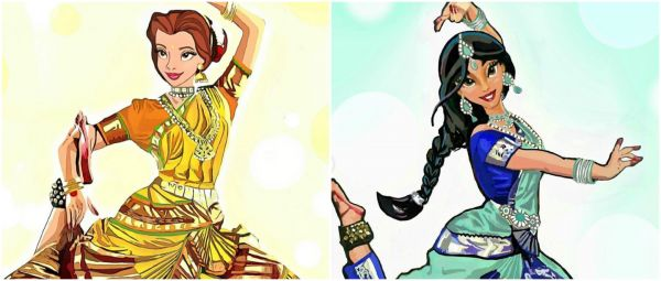 Artist Reimagines Disney Princesses As Classical Indian Dancers & We're Loving The Outfits