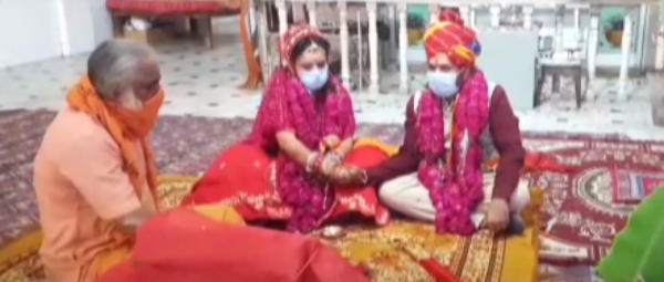 Weddings & Corona: This Couple Got Married In A Temple, Families Watched Via Video Call!