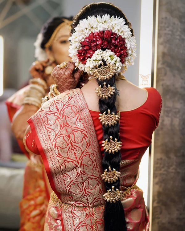 Gajra used as Mogra veni for south indian bride long hair