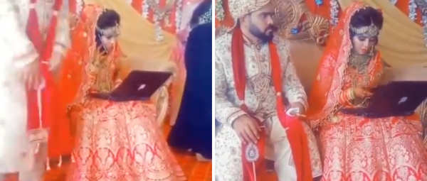 Bride's Video Of Working From 'Mandap' Goes Viral, Netizens Call Her A Dedicated Employee