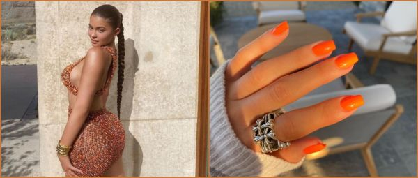 We're Currently Crushing On Kylie Jenner's Neon Orange Nails & You Can Get 'Em At Home Too
