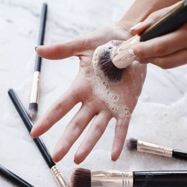 Give your makeup brushes a proper rinse