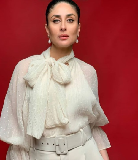Kareena Kapoor Khan wears a white top and pants in another maternity fashion look