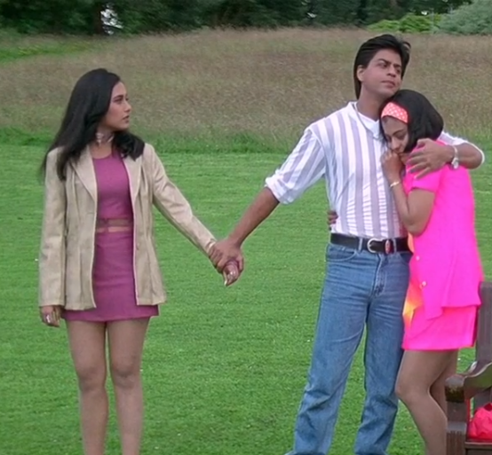Rani Mukherjee wearing co-ords layered with a blazer in Kuch Kuch Hota Hai