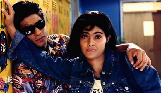 Kajol in a logo tee and denim jacket in Kuch Kuch Hota Hai