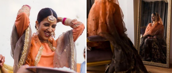 Traditional Who? This Bride Chose Two Unusual  Colours For Her Lehenga & We're Obsessed!