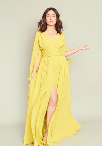 In a yellow gown with details- Kareena Kapoor Khan