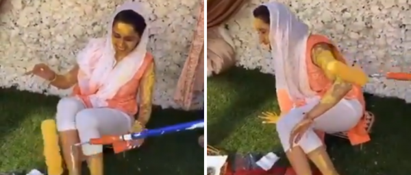 This 'Socially Distanced' Haldi Ceremony With A Paint Roller Is Too Much Fun To Miss!